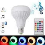 Оригинал E27 12W Emergency перезаряжаемый Colorful Светодиодный Bulb Bluetooth Speaker Music Лампа AC220V