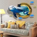 Оригинал MiicoCreative3DDolphinWindowМорская рыба ПВХ Съемная домашняя комната Декоративная настенная декорация наклейки