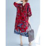 Оригинал Женское Винтаж Китайский стиль V-образным вырезом Half Sleeves Loose Платье