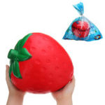 Оригинал Огромная клубника Squishy Jumbo 25 * 20CM Fruit Slow Rising Soft Гигантская коллекция подарков для игрушек с Packag