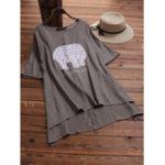 Оригинал Casual Женское Слоновая печать Неправильная блузка