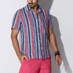 Оригинал TWO-SIDEDLooseStripeFashionповседневныйхлопок Plus Размер Рубашка