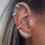 Оригинал Серьги Rhinestones 4Pcs серьги установили золотой зажим уха Лист Ear Stud