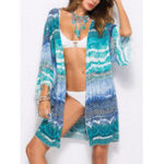 Оригинал Plus Размер Печатная солнцезащитная блузка Пляжный Cover-Ups