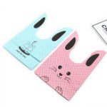 Оригинал 50Pcs/LotРозовыйиBlue Cute Rabbit Cookie Сумки Пластмассовая конфета Biscuit Packaging Сумка Свадебное Candy Gift Самоклеящаяся пластиковая упаковк