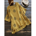 Оригинал Casual Женское Loose Printed Polka Dot Irregular Hem Blouse
