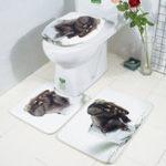 Оригинал HonanaВаннаякомнатаКоврикидляковриков 3 шт. 3D-слоновая печать Flannel Soft Противоскользящая ванна для душа Коврики для туалета