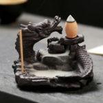 Оригинал Дракон Pond Backflow Incense Cone Burner Палка Держатель Ароматный Ароматный Кадиль Домашний Декор