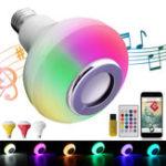 Оригинал E27 12W Wireless Bluetooth RGBW Музыкальный проигрыватель Светодиодный Лампа с Дистанционное Управление AC100-240V