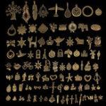 Оригинал 96Pcs Antique Bronze Кулон Украшения для ключей Многоуровневые металлические животные Растение Украшения