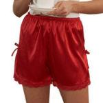Оригинал Шелковая кружевная отделка Женское Шорты боковые открытые Bowknot Pajama Брюки