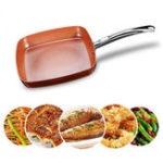 Оригинал АнтипригарныйМедьКвадратныйПансКерамический Сковорода Медь Печь и Посудомоечная машина Шеф-повар Square Fry Pan