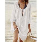 Оригинал Женское Loose V-Neck 3/4 Рукав Sunscreen Cover Up Платье