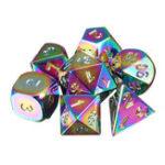 Оригинал 7Pcs Rainbow Metal Polyhedral Кости DND RPG MTG Ролевая игра с Сумка