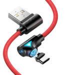 Оригинал FLOVEME 90-градусный угол Type C LED Магнитный плетеный высокоскоростной кабель для передачи данных 1M для смартфона