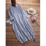 Оригинал Женское Повседневный O-образный вырез с длинными рукавами Striped Maxi Платье