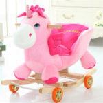 Оригинал Baby Kid Toys 50 * 28 * 58CM Деревянная раскраска Плюшевая Лошадь Маленький стиль единорога Riding Rocker