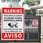 Оригинал 24 Hour Video Surveillance Warning Sign Sticker Security Video Spanish English Metal