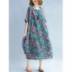Оригинал Женское Мозаика Пэчворк O-образным вырезом Половинные рукава Loose Платье