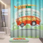 Оригинал 180см Лето Кемпинг Авто Шторы для душа Водонепроницаемы Полиэстер 12 Крючки Ванная комната Коврик