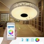 Оригинал 48W RGB Smart Dimmable 36 LED Потолочный светильник Bluetooth Динамик APP Control Лампа AC110-260V