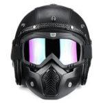 Оригинал 3/4 Open Chopper мотоцикл Кожа PU Шлем + Лицевая сторона Маска с Очки Для Harley