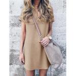 Оригинал Casual Женское с коротким рукавом V-образным вырезом Mid Long Pocket Платье