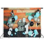 Оригинал 5x3ft 7x5ft Blue Воздушный шар Colorful Wall Baby 1-й день рождения Фотография Заставка Студия Prop Background