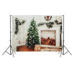 Оригинал 7x5ft Белый камин Рождественская елка Фотография Фон Студия Prop Background
