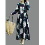 Оригинал Цветочная печать с длинным рукавом O-образным вырезом Винтаж Средняя длина Платье