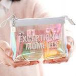 Оригинал РозовыйПрозрачнаякосметикаСумкаЖенскоеColorful Лазер Clear Travel Макияж Сумки Водонепроницаемы Смазка для мытья рук с муфтой
