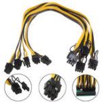 Оригинал 5Pcs 18AWG Графическая линейка PCI-E 6pin Male для 8pin (6 + 2) Мужской силовой кабель для выносной платы