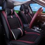 Оригинал 12Pcs Luxury 5-Seat Авто Крышка сиденья спереди сзади с подушкой Талия Подушка Черный Красный