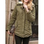 Оригинал Женское Чистый цвет с искусственной шерстью с капюшоном Drawstring Толстое пальто