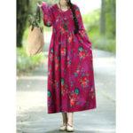 Оригинал Цветочная эластичная талия с длинным рукавом Maxi Платье