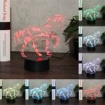 Оригинал Лошадь Животное 3D Night Light Colorful LED USB Лампа потрогать Kids Gift LED USB Лампа