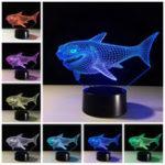Оригинал Shark3DNightLight7цветов Изменение LED Сенсорныйпереключатель USB Table Лампа Подарок для украшений