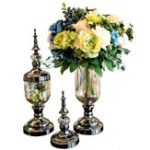 Оригинал ЕвропейскийстеклянныйцветочныйвазыЦветочныйдержатель Свадебное Party Home Office Decorations