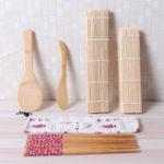 Оригинал 9Pcs / set Bamboo Rolling Mats Sushi Making Набор Палочки для еды Rice Spreader Family Party Sushi Gadget