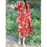 Оригинал Винтаж Цветочные печати хлопка и льна с длинным рукавом сплит Платье