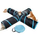 Оригинал Pet Кот Собака Kitten Puppy Tunnel Play Toy 4 WAY Складной тренировочный тоннель Забавные игрушки для животных Охота Собака