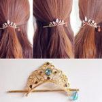 Оригинал Сладкая корона Шпилька Симпатичные золотые аксессуары для волос Звезда Кулон