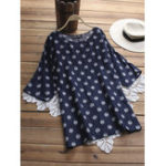 Оригинал Винтаж Polka Dot O-Neck Half Sleeve Loose Blouse