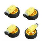 Оригинал 4шт 65 х 26 мм Пластиковое колесо шины + DC 3-6v Gear Мотор Для Arduino Smart Авто