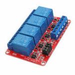 Оригинал 24V 4-канальный релейный модуль с оптоволоконным триггером для Arduino