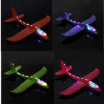"""Оригинал 4PCS 19 """" Ручной запуск метательного самолета Самолет-планер DIY Инерциальная игрушка для самолетов EPP с Светодиодный"""