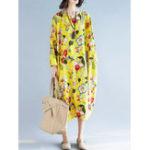 Оригинал Plus Размер Цветочные O-образным вырезом с длинным рукавом Loose Платье