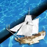 Оригинал 310 мм Деревянный корабль Модель DIY Рыбалка Лодка Лазер Комплект сборок для сборки сборок Toys Gift
