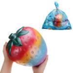 Оригинал Огромный клубничный Squishy 26 * 22CM Гигантские фрукты медленно растут Soft Коллекция подарков для подарков с упаковкой