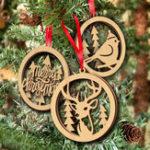 Оригинал 3PcsHollowSmallКулонElkBirds Plain Natural Wood Рождественские украшения Свадебное Домашние декорации